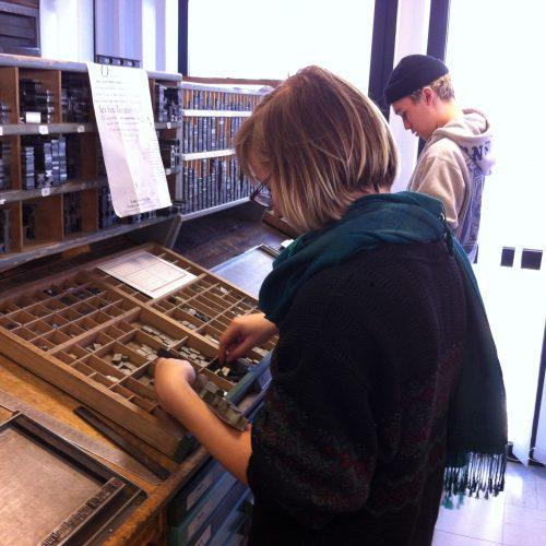 ATELIER de composition typographique au Musée de l'Imprimerie de Nantes